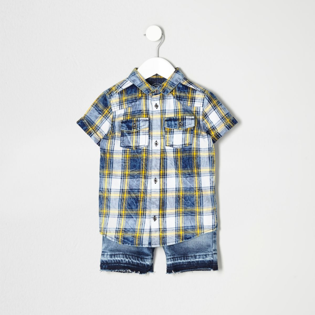 Mini boys blue check shirt and shorts outfit