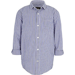 Boys blue stripe print shirt