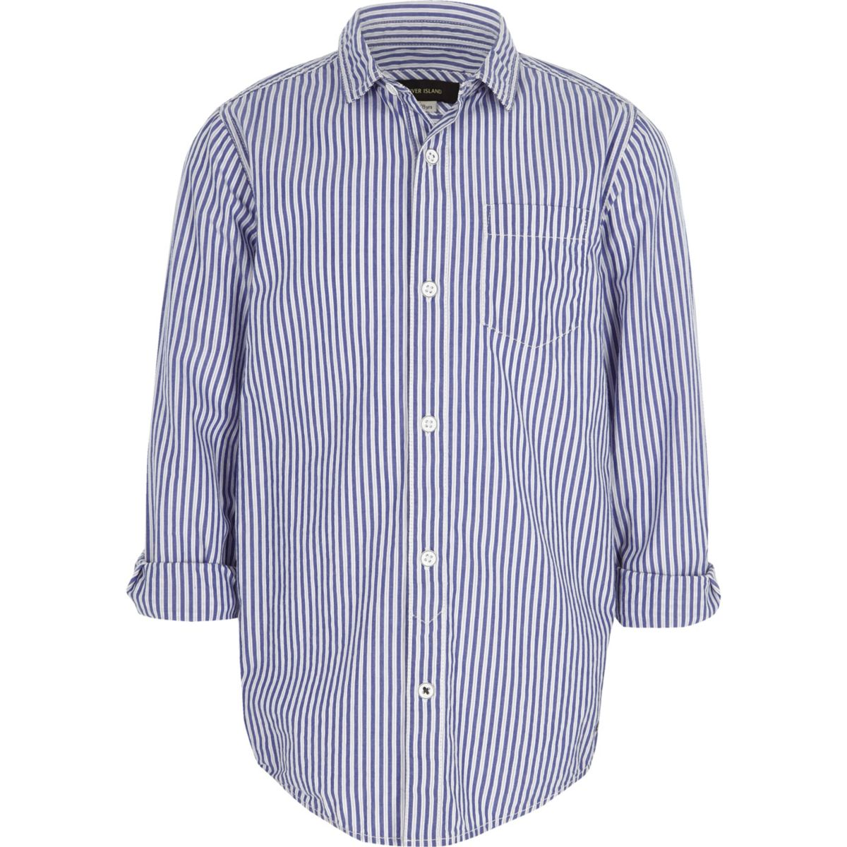 Boys blue stripe print shirt