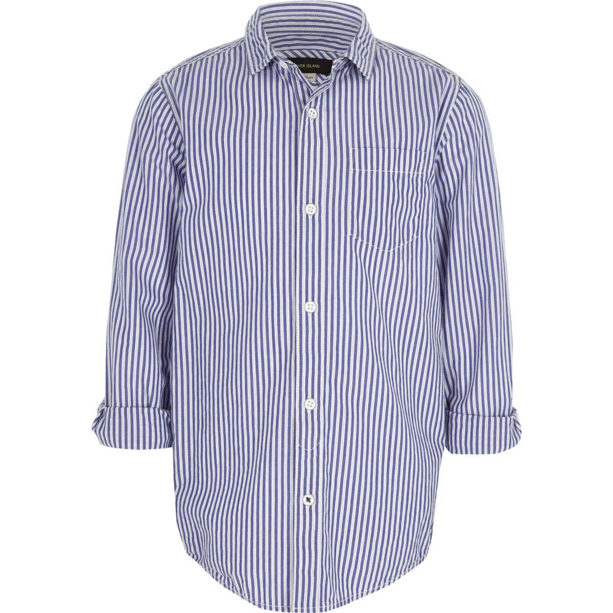 Chemise bleue rayée garçon
