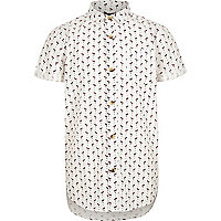 Boys white flamingo print short sleeve shirt