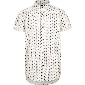 Boys white flamingo print short sleeve shirt