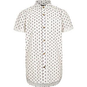 Wit overhemd met flamingoprint en korte mouwen voor jongens