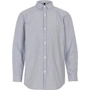 Blauw net overhemd met strepenprint voor jongens