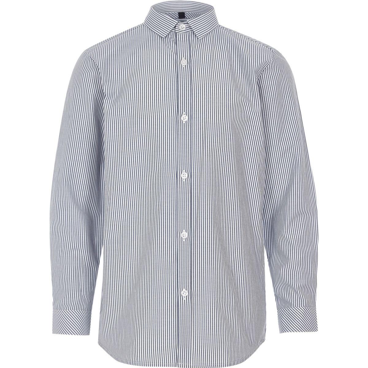 Boys blue stripe print smart shirt