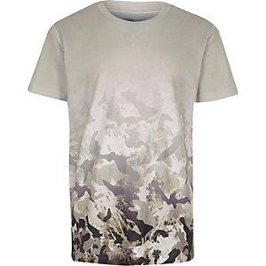 T-shirt blanc à imprimé camouflage en dégradé pour garçon