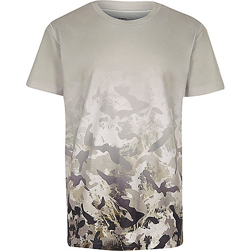 Boys white camo fade print T-shirt