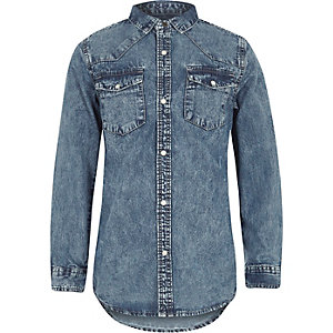Boys blue acid wash denim long sleeve shirt