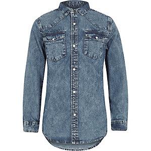 Blauw acid wash denim overhemd met lange mouwen voor jongens