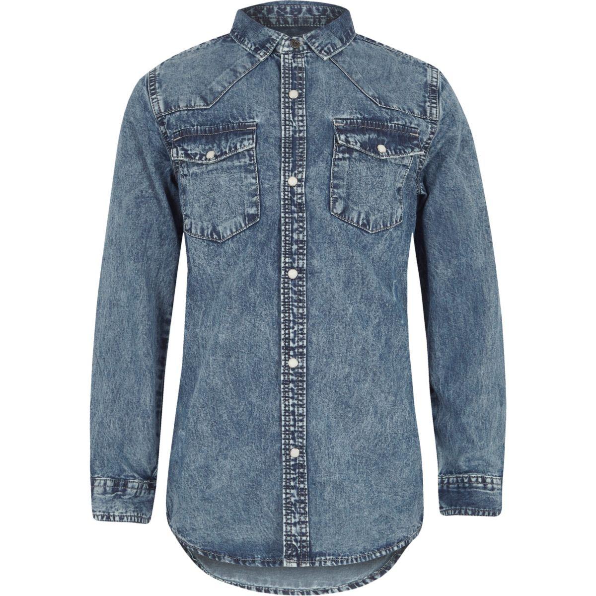 Boys blue acid wash denim long sleeve shirt