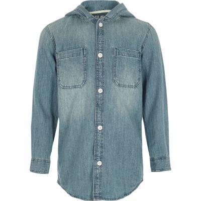 Blauw denim overhemd met lange mouwen en capuchon voor jongens