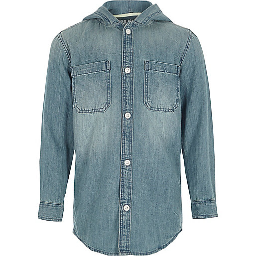 Boys blue long sleeve hooded denim shirt