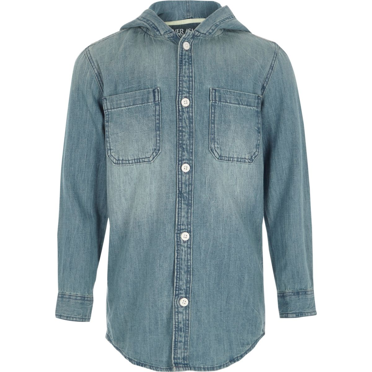 Boys blue long sleeve hooded denim shirt