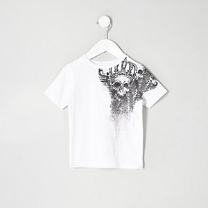 Mini boys skull shoulder print T-shirt