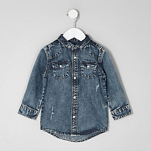 Mini boys acid wash long sleeve denim shirt