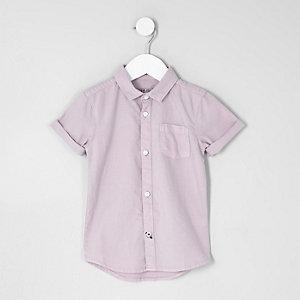 Mini - Lila Oxford overhemd met korte mouwen voor jongens