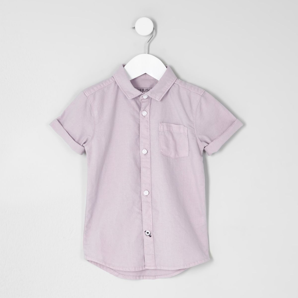 Mini boys lilac short sleeve Oxford shirt