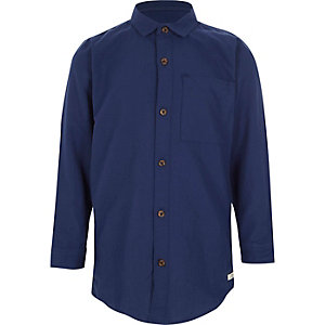 Boys navy long sleeve Oxford shirt