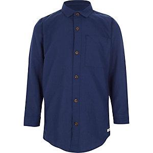 Langärmeliges Oxford-Hemd in Marineblau für Jungen