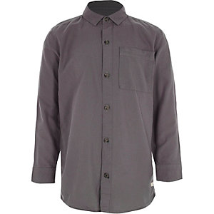 Boys dark purple long sleeve Oxford shirt
