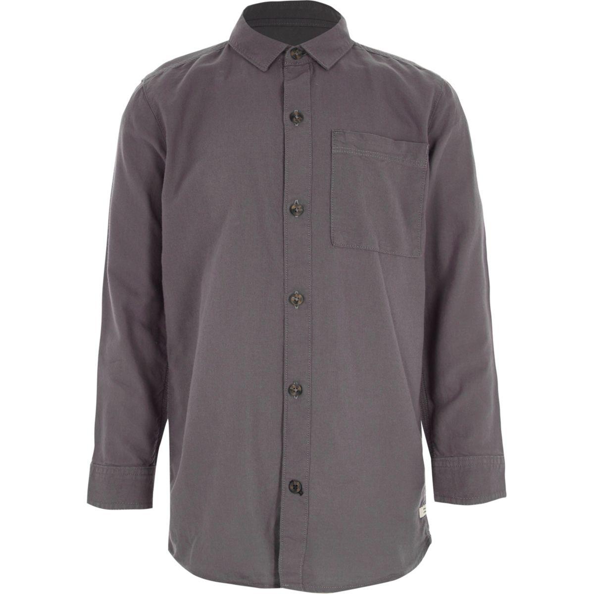 Boys dark purple long sleeve Oxford shirt