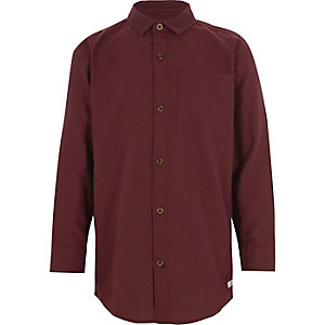 Boys dark red long sleeve Oxford shirt