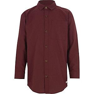 Donkerrood Oxford overhemd met lange mouwen voor jongens