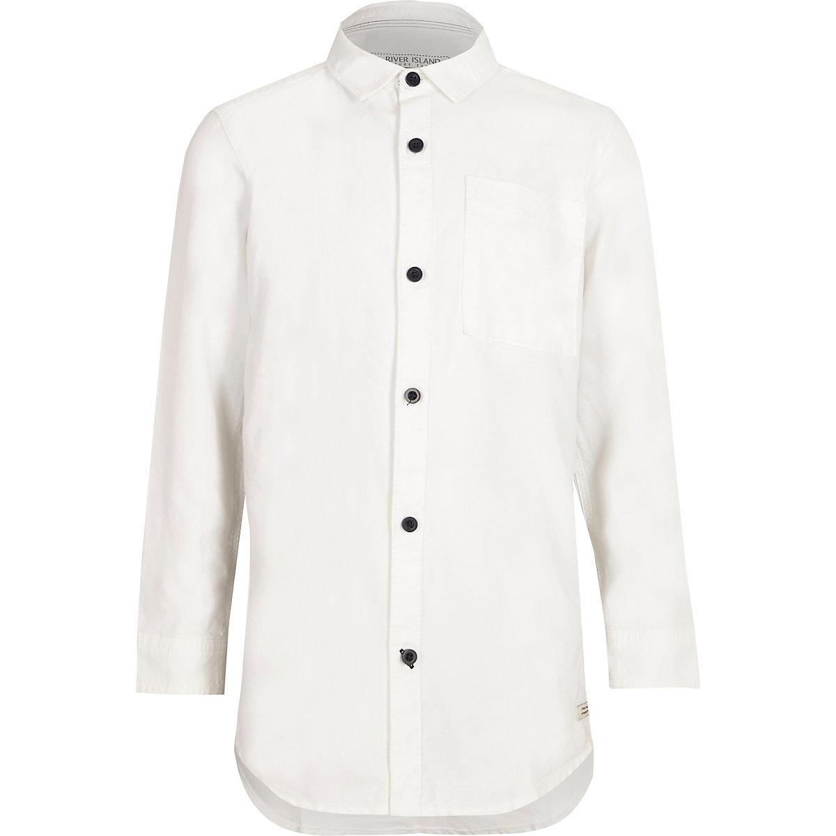 Chemise Oxford blanche à manches longues pour garçon