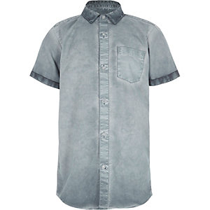 Boys blue oil wash short sleeve shirt