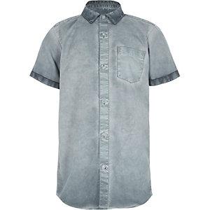 Blauw oil wash overhemd met korte mouwen voor jongens