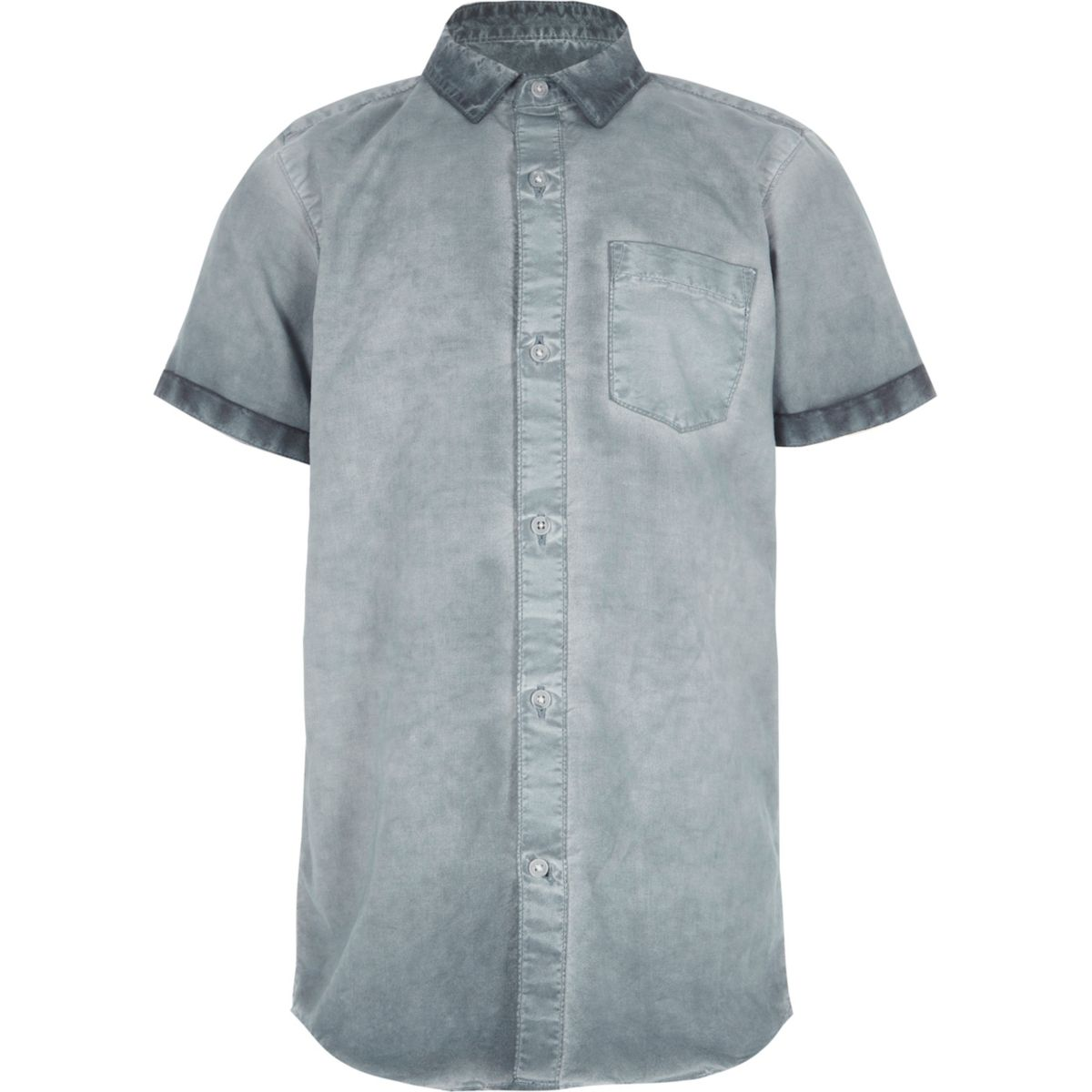 Boys blue oil wash short sleeve shirt