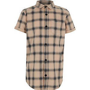 Boys pink check short sleeve shirt