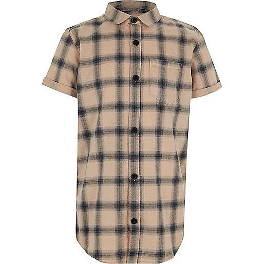 Boys pink check short sleeve shirt