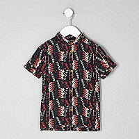 Mini boys black aztec short sleeve shirt