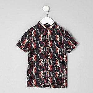 Chemise imprimé aztèque noire à manches courtes mini garçon