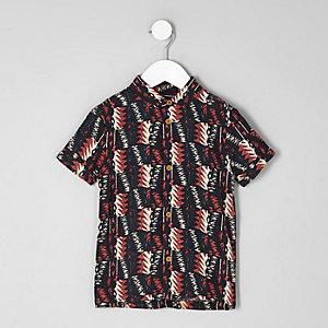Mini - Zwart overhemd met korte mouwen en aztekenprint voor jongens