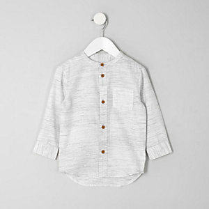 Mini boys cream textured grandad shirt