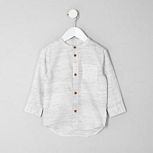 Mini - Crème overhemd zonder kraag met textuur voor jongens