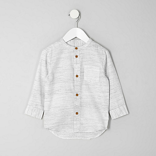 Mini boys cream textured grandad shirt
