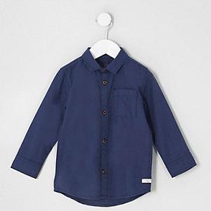 Marineblaues, langärmliges Oxford-Hemd