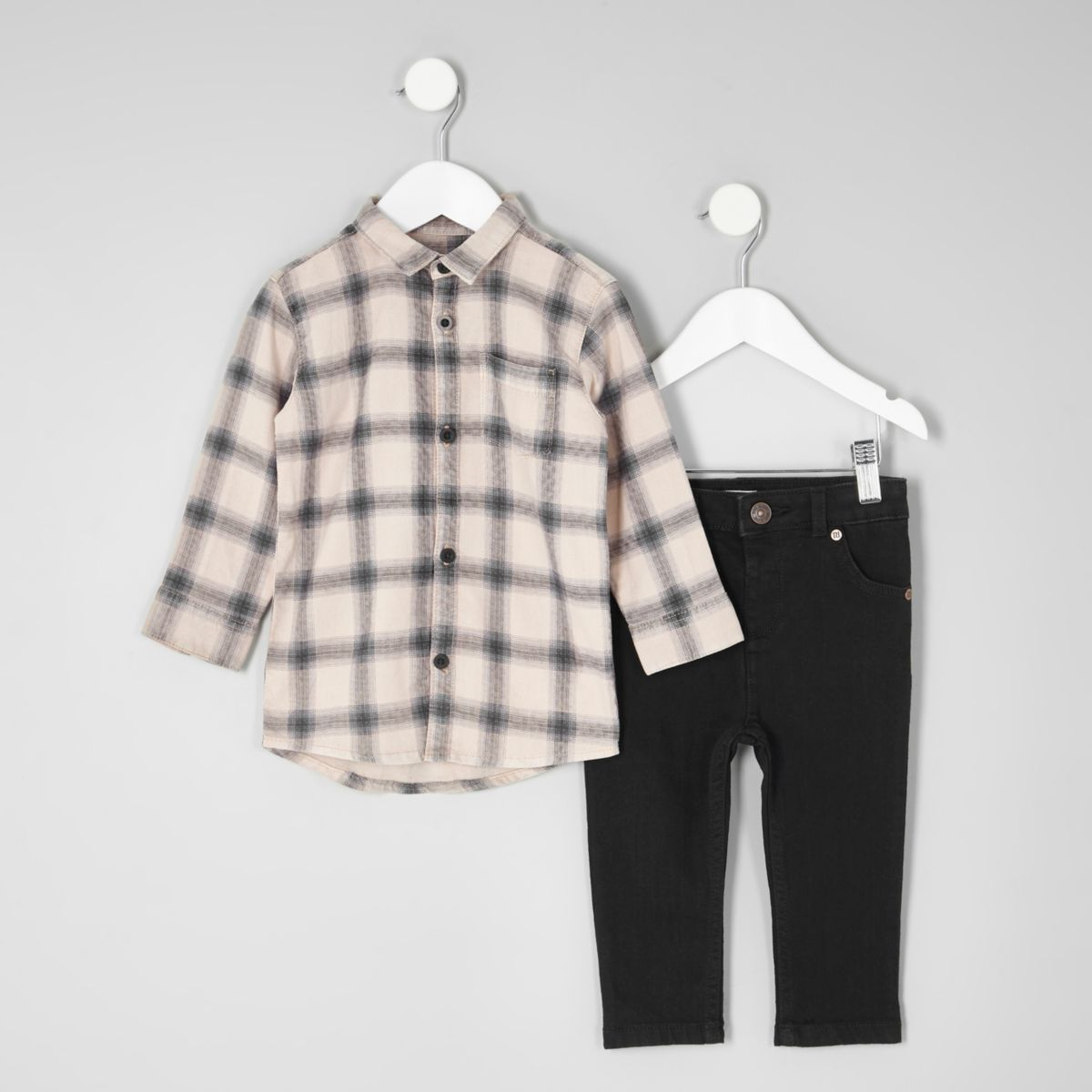 Mini boys check shirt and black jeans outfit