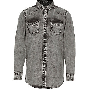Boys grey acid wash denim shirt