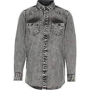 Chemise en jean grise délavée à l'acide pour garçon
