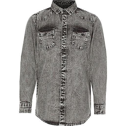 Boys grey acid wash denim shirt