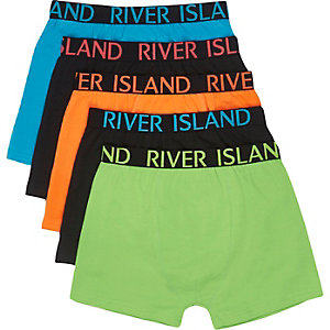 Boys green bright colour boxers multipack