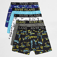 Boys blue word print boxers multipack