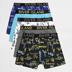 Multipack blauwe boxershorts met woordprint voor jongens