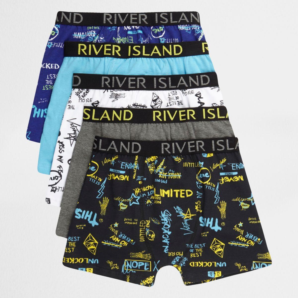 Boys blue word print boxers multipack