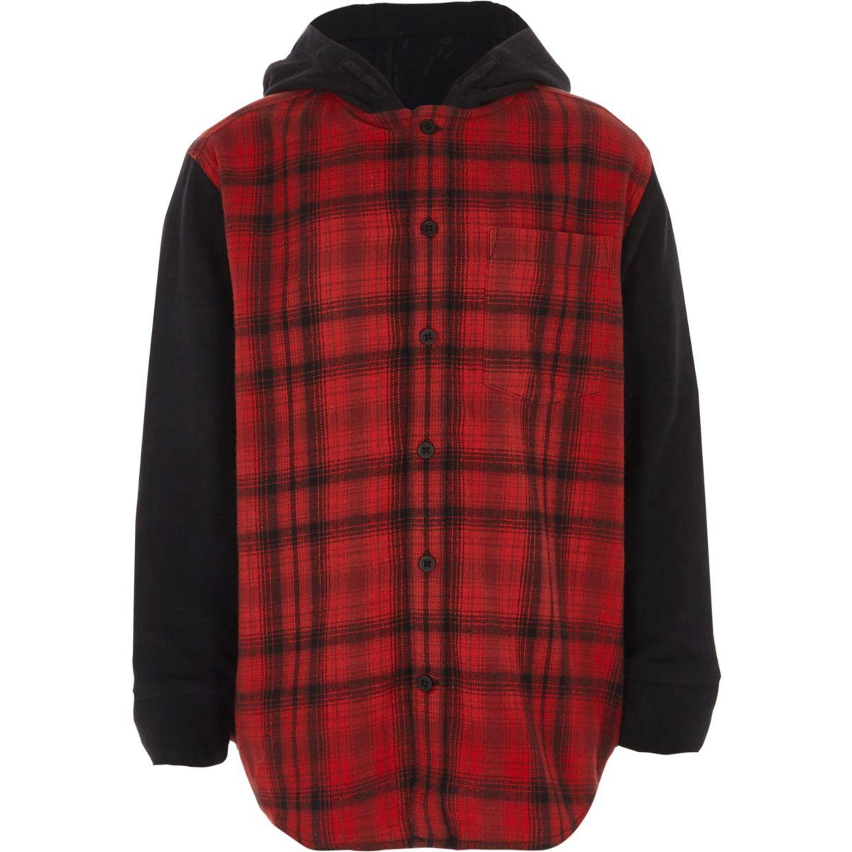 Boys red check hooded shirt