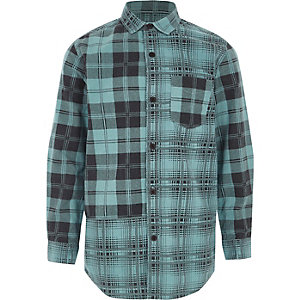 Boys blue check long sleeve shirt